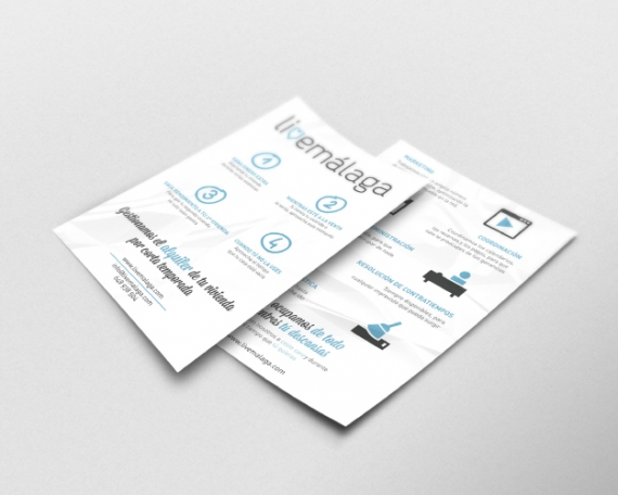 Flyer design for an apartment rental company in Malaga