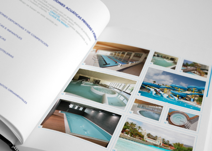 Dossier design for a company dedicated to aquatic projects