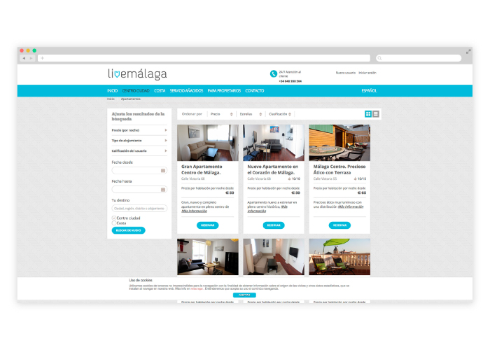 website design and development for an apartment rentals company in malaga - Apartment Website Design